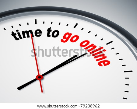 An image of a nice clock with time to go online - stock photo