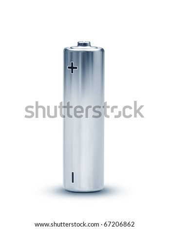 An image of a nice isolated battery with clipping path - stock photo