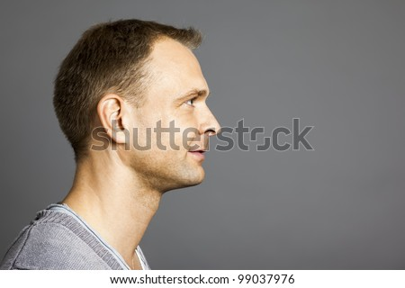 An image of a nice male portrait side view - stock photo
