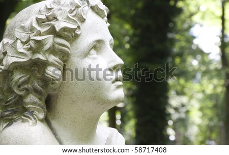 An image of a nice stone angel face - stock photo