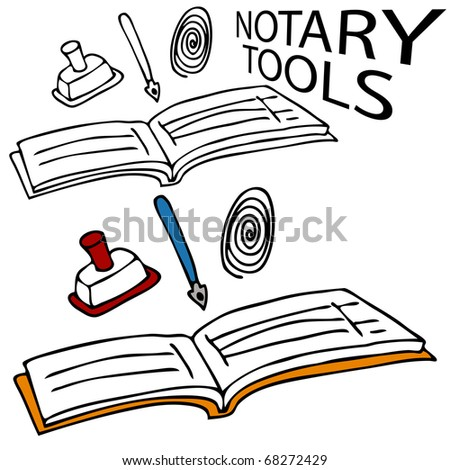 An image of a notary book, stamp, pen and fingerprint.