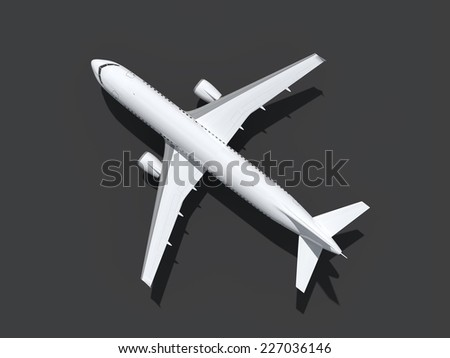 An image of a plane at the ground from above - stock photo