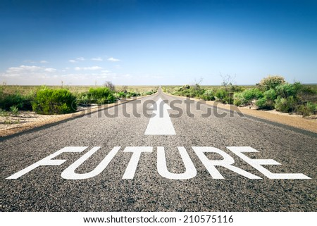 An image of a road to the horizon with text future - stock photo