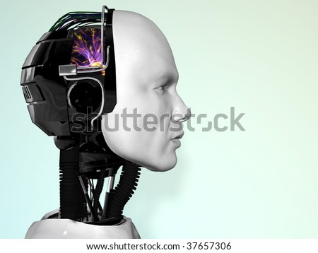 An image of a robot man's head in profile. - stock photo