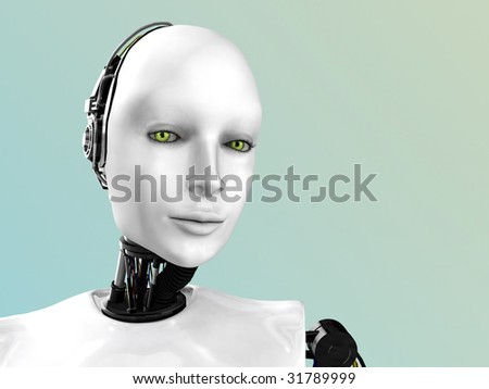 An image of a robot woman's face.
