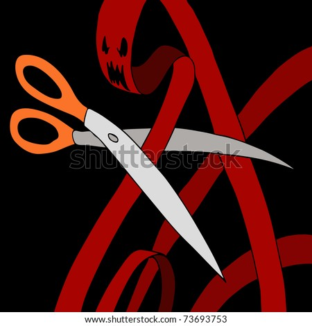 An image of a scissors cutting through a red tape monster. - stock photo