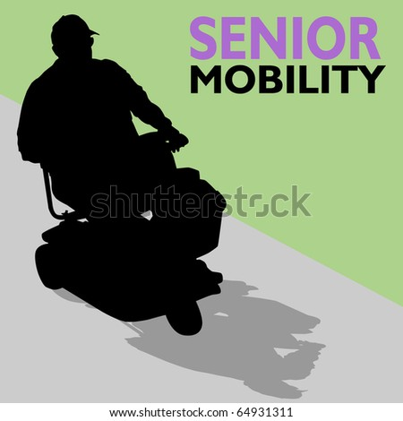 An image of a senior man riding his scooter. - stock photo