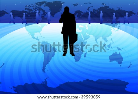 An image of a silhouetted businessman talking on a mobile phone holding a briefcase and standing on a globe - stock photo
