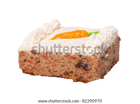 An image of a single serving of carrot cake isolated on white.