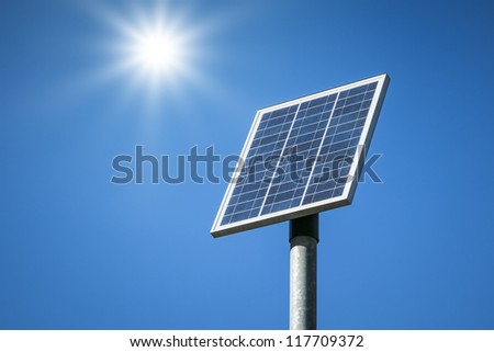 An image of a small solar plant - stock photo