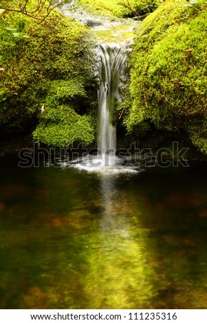 An image of a small waterfall flowing into a calm pool of water - stock photo