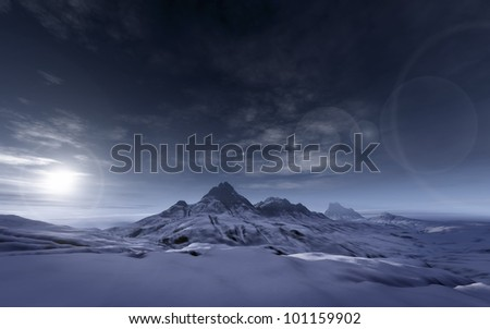 An image of a snowy mountains scenery - stock photo