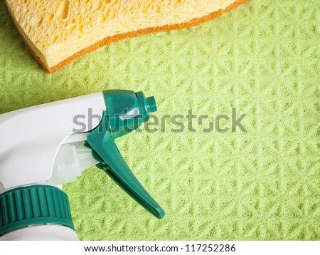 An image of a sponge and some cleaning - stock photo