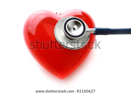 An image of a stethoscope and a red heart isolated on white background
