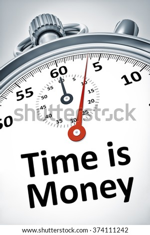 An image of a stopwatch with text time is money - stock photo