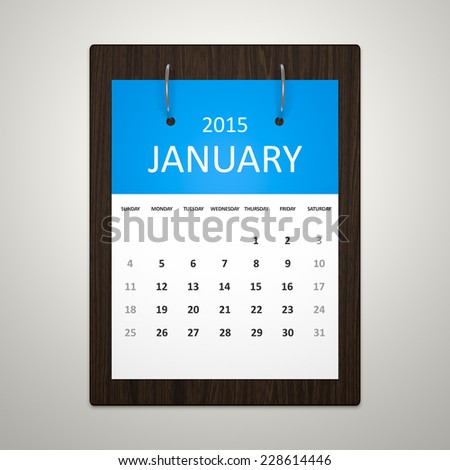 An image of a stylish calendar for event planning January 2015 - stock photo