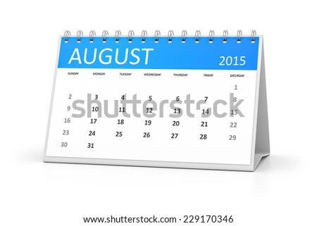 An image of a table calendar for your events August 2015