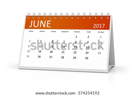An image of a table calendar for your events 2017 june - stock photo