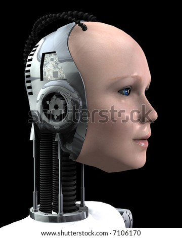 An image of a technologically robotic women. - stock photo