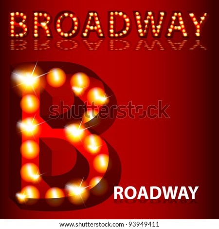 An image of a theatrical lights Broadway text. - stock photo