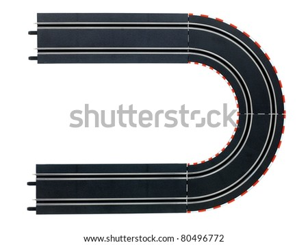 An image of a toy slot car racing track - stock photo