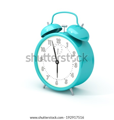 An image of a turquoise alarm clock isolated on white - stock photo