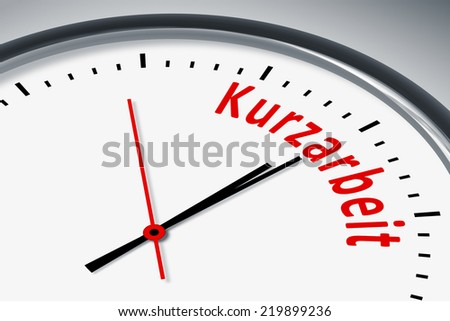An image of a typical clock with text short-time work in german language