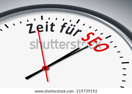 An image of a typical clock with text time for SEO in german language