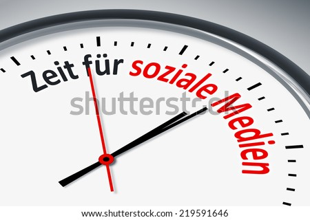 An image of a typical clock with text time for social media in german language