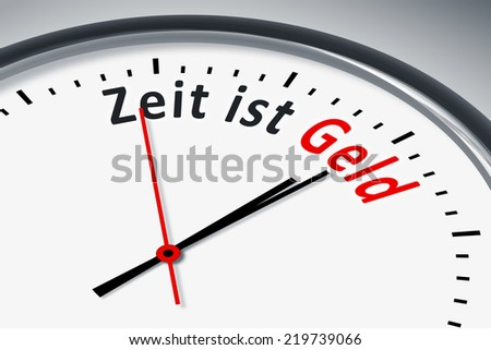 An image of a typical clock with text time is money in german language