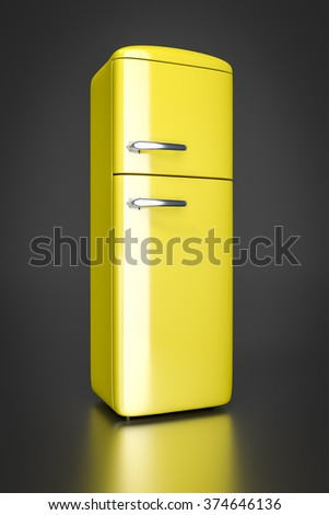 An image of a typical yellow refrigerator - stock photo