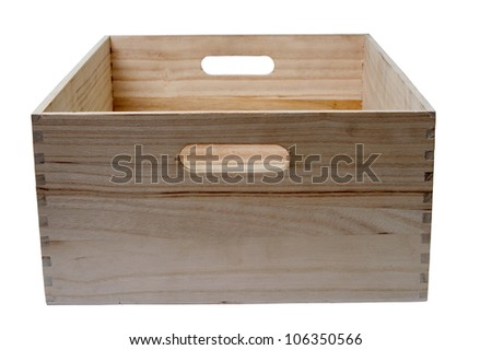An image of a wooden box on white background - stock photo