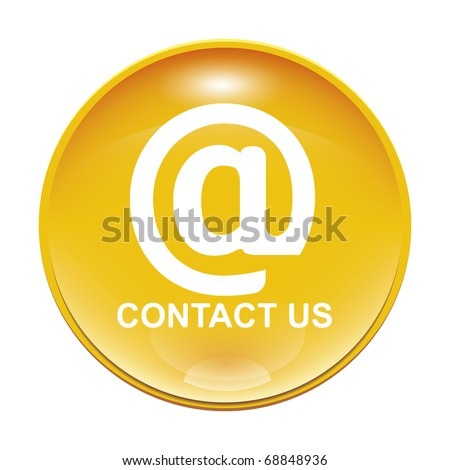 An image of a yellow contact us icon - stock photo