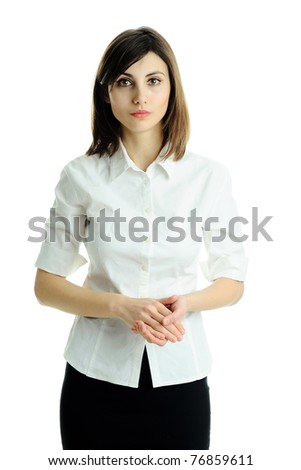 An image of a young beautiful manager in white blouse - stock photo