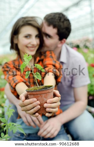 An image of a young couple with a plant in the pot - stock photo