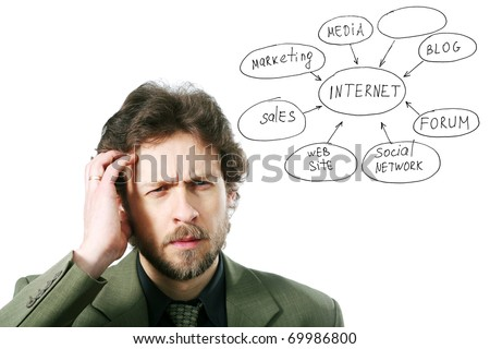 An image of a young man thinking hard - stock photo