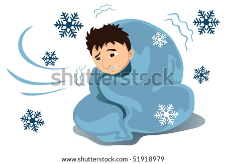 An image of a young shivering man covered with a blanket while snowflakes are falling around him