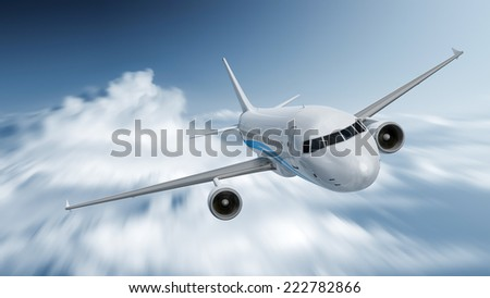 An image of an airplane with motion blur in the clouds - stock photo