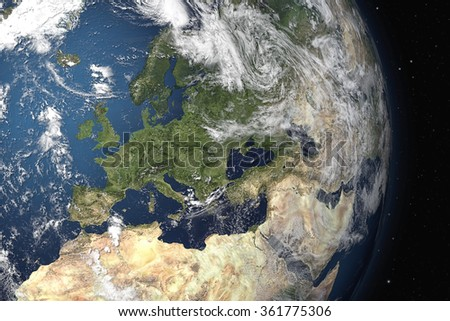 An image of an Earth view from space. 3D Graphic with detailed NASA images for the earth. - stock photo