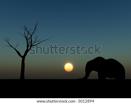 An image of an elephant silhouette with a African sky background.