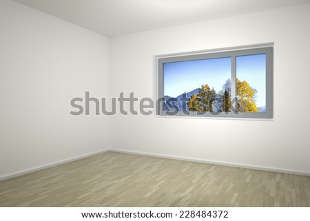An image of an empty room with a window - stock photo