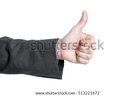 An image of an isolated thumb up - stock photo