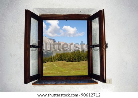 An image of an open window and beautiful picture outside - stock photo