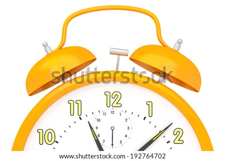 An image of an orange alarm clock isolated on white - stock photo