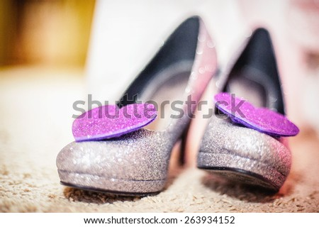an image of beautiful white shoes from bride - stock photo