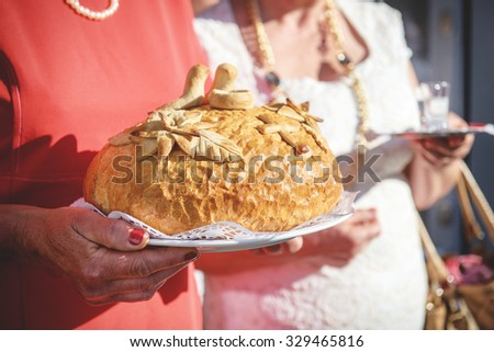 an image of bread for the bride and groom - stock photo