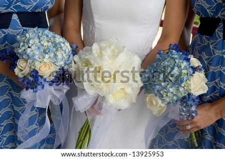 An image of bride and bridesmaids with bouquets - stock photo