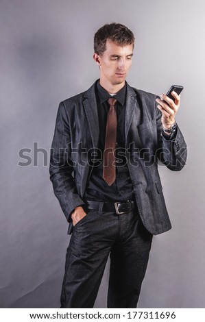 an image of businessman using a mobile phone - stock photo