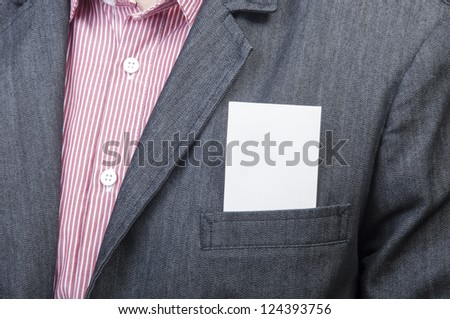 An image of businessmen holding blank card - stock photo