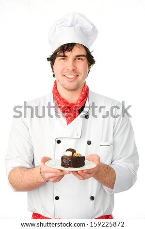 An image of chef witth cake on a plate